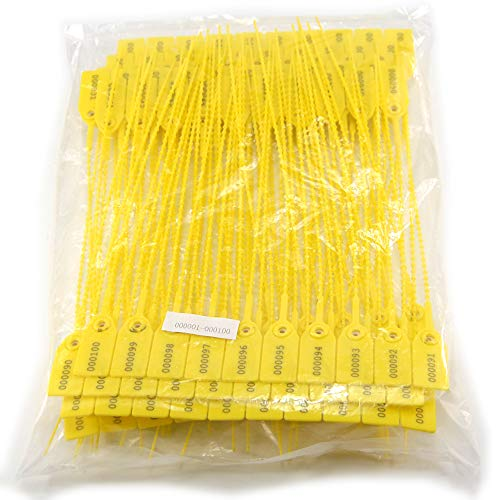 Leadseals(R) Yellow Numbered Security Zip Ties Plastic Tamper Evident Seal Tags Pull Tite Self-Locking Disposable Safety Locks for Fire Extinguisher (100 PCS)