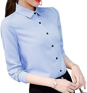 BOBORA レディース シャツ ビジネス オフィス ブラウス 襟付き 長袖 シフォン フォーマル ワイシャツ スリム