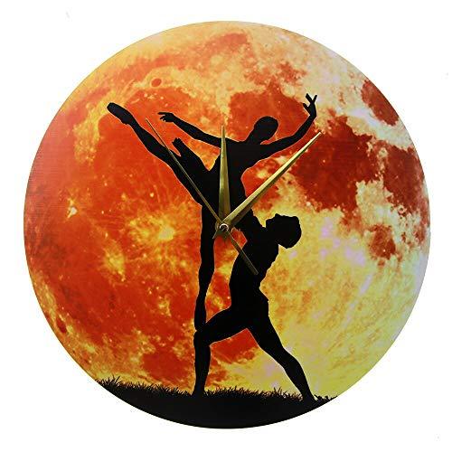 NIGU Día del miembro regalos para mujeres Bailando Pareja Acrílico Impreso Reloj de Pared Bailarina Bailando con la Luna Sala de Baile Oro Luna Decoración Arte de la Pared Ballet Regalo para Hombres