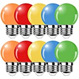 ProCrus Bombillas LED de colores,E27 1W G45,Bombilla mini de colores Lámpara LED,Color Naranja,Rojo,Amarillo,Azul,Verde para Exterior,Patio,Iluminación Navideña,Equivalente Bombillas 10W,Paquete de 10