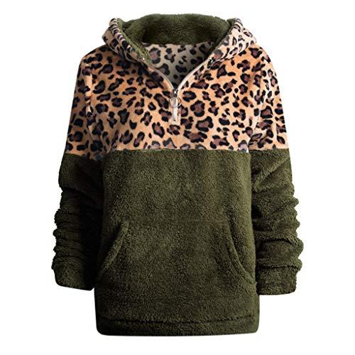 Timogee Longpullover für Damen Pullover Oberteile Günstige Longpullover pullis Kapuzenpullover Langarmshirt Leopard Gedruckte mit Kapuze Taschen Bluse Oberseiten