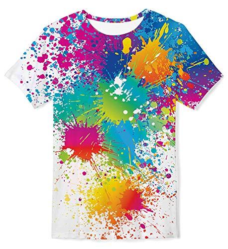 Kids4ever 3D T Shirt Ragazzo Ragazze Adolescentes Personalizzata Schizzi di Vernice Grafico Girocollo Tees Tops Camicie Moda Casual per la Festa del Festival