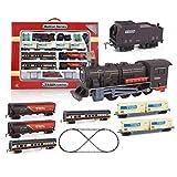 TOSUAI Tren Navidad, Tren Vapor eléctrico con Sonido Realista y Luces, Tren electrico de Juguete com 55 Partes, Juego Tren Eléctrico Pista de 370 Pulgadas, Apto para Mayores de 6 años