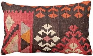 Athena Bacon Pillowcase Turkish Rug Print Throw PillowcaseCover Boho Ethnic Geometric 4 x 20 Lumbar Pillowcases Cushion Covers RedOrangePink Geometric Tribal Geo