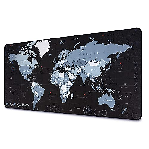Large Gaming Mouse Pad Keyboard Pad Extended XXL Size Big Mousepad with Stitched Edge Waterproof Nonslip Base Desk Mat for Home Office Laptop Computer Gaming, 35.4'x15.7', Black World Map