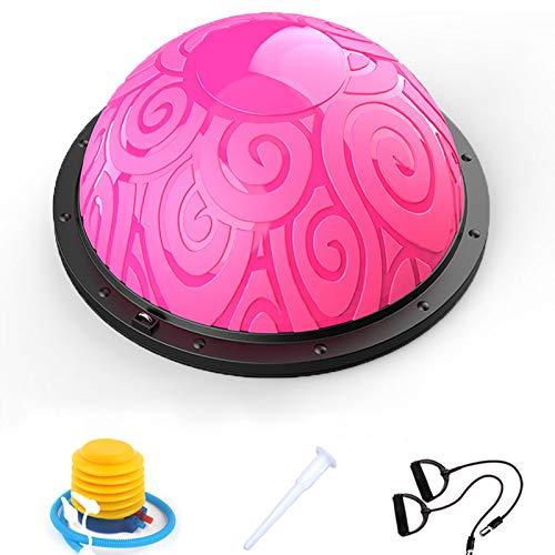 バランスボール 半円型 チューブロープ搭載 ヨガボール 半球 直径58�p バランスボード 空気入れ付属 エクササイズボール 体幹トレーリング(ピンク)