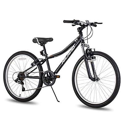Hiland 24 Inch Mountain Bike for Children with 6-Speed Suspension Fork V Brake Bicycle Black