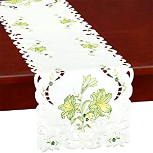 Simhomsen Embroidered Calla Lily Flower Table Runners for Easter Holiday, Spring or Wedding Floral Decorations, Dresser Scarf (Green, 14 x 69 inches)