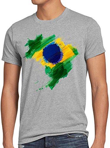 CottonCloud Flagge Brasilien Herren T-Shirt Fußball Sport Brazil WM EM Fahne, Größe:M, Farbe:Grau meliert