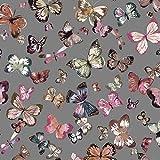 Organic French Terry Stoff Meterware Schmetterlinge (grau)