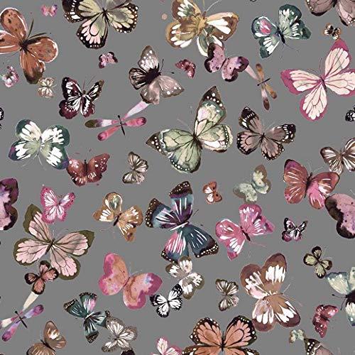 Sommersweat Stoff mit Schmetterlingen auf Grau als Meterware zum Nähen von Erwachsenen, Kinder und Baby Kleidung, 50 cm