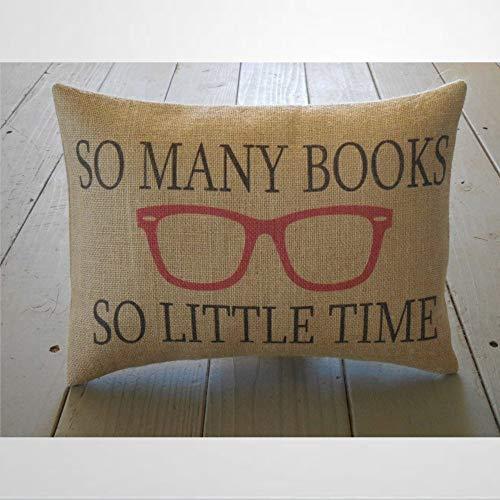 EricauBird So MENy - Funda de cojín con diseño de libros y gafas, 30,5 x 50,8 cm