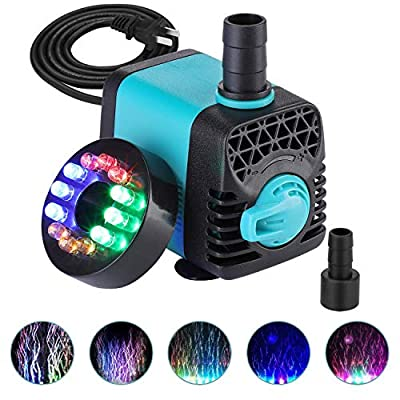 KEDSUM 130GPH Submersible Pump (600L/H,10W), Ultra Quiet Water Pump with 12 LED Colorful Lights, Fountain Pump with 3ft High Lift, 2 Nozzles for Fish Tank, Pond, Aquarium, Statuary, Hydroponics