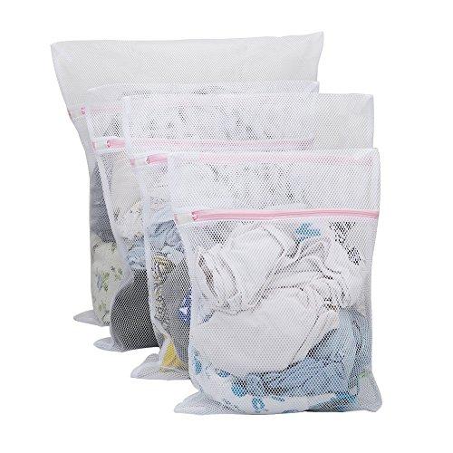 Vivifying Große Net Wäschebeutel, 4 Stück Langlebige Grobmaschige Netz-Wäschebeutel mit Reißverschluss für Kleidungsstücke und Feinwäsche (Weiß)