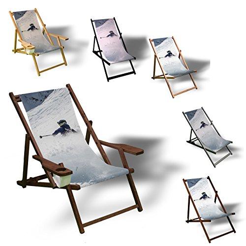 Printalio - Ski Schnee - Liegestuhl Bedruckt Balkon Garten Sonnenliege Relax Holz Terrasse   Kinderliegestuhl, Natur