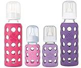 Lifefactory 4oz/9oz Glass Baby Bottle 4pk - (Pink/Lavender/Raspberry/Grape)