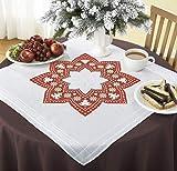 Kamaca - Kit per ricamare una tovaglia a punto croce, motivo natalizio, 80 x 80 cm