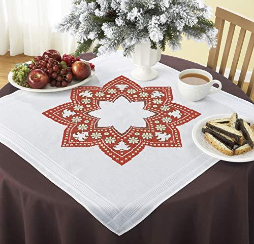 Kamaca Stickpackung WEIHNACHTSSTERN Tischdecke 80x80 cm Kreuzstich vorgezeichnet Baumwolle komplettes Stickset mit Stickvorlage Weihnachten