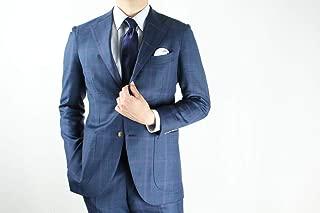 スーツ シングルスーツ メンズスーツ 上下セット 高級服地DORMEUIL(ドーメル)使用 受注生産 国内縫製 シングル3つボタン段返りジャケット&ワンタックパンツ ブルーチェック柄 3サイズ展開