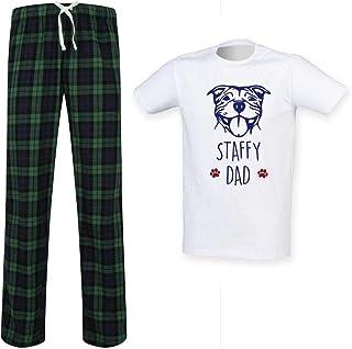 Mens Staffy Dad Tartan Pyjama Set Fathers Day Pet Clothes Present Staffordshire Bull Terrier