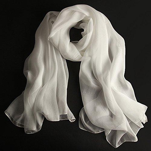 Châles MEIDUO Femme Foulard en soie 100% soie printemps et d'hiver hiver Foulards en soie Rectangle 180 * 110cm (Couleur : Blanc)