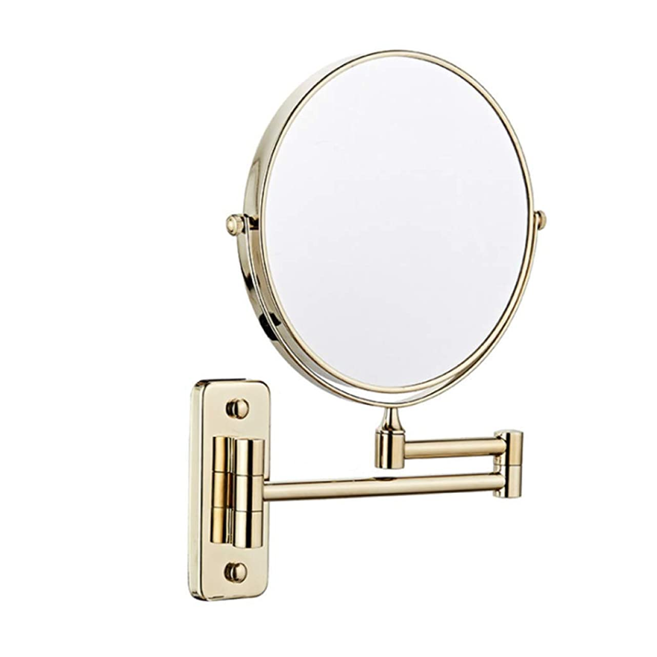 状小説したいALYR 壁掛け式 化粧鏡、両面 化粧鏡 3 ズームイン 化粧鏡 スケーラブル バスルームミラー ベッドルームまたはバスルームで剃る,Gold
