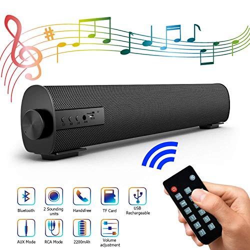 DBGS Soundbar draagbaar voor TV/PC, Esterno/Interieur Wired & Wireless Bluetooth luidspreker Stereo met de nieuwste afstandsbediening, 2 bar X 5 W Mini Home Theatre Audio met ingebouwde in