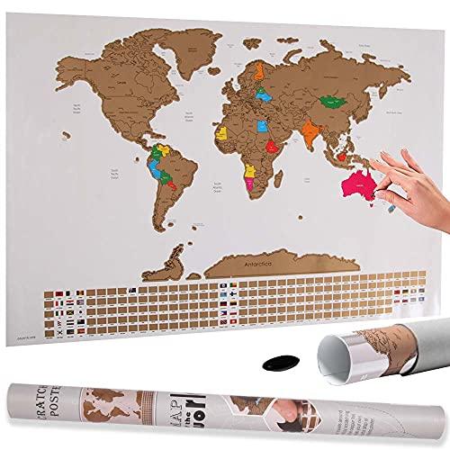 Bakaji Poster Mappamondo da Grattare con Bandiere Cartina Geografica Mappa del Mondo Scratch Off Dimensione 60 x 40 cm da Parete Muro Design Moderno Custodia Cilindro e Lima Idea Regalo … (Bianco)