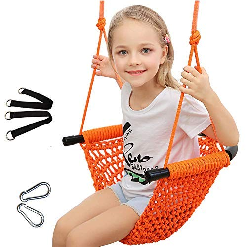 Uquer Swing Seat for Kids, Heavy Duty Rope Play Secure Children Swing Set, Perfect for Indoor,Outdoor,Playground,Home,Tree,with Snap Hooks and Swing Straps, 200KG/440LBS Capacity (Orange)