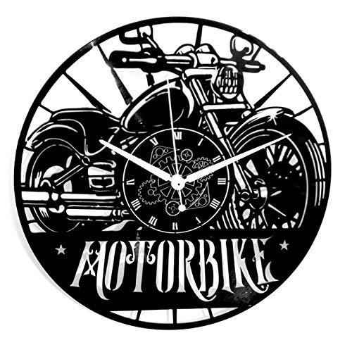 Instant Karma Clocks Motorfiets-wandklok, vinyl, voor motorfiets en motorfiets, voor heren, straten, 33 toeren, vintage, handgemaakt