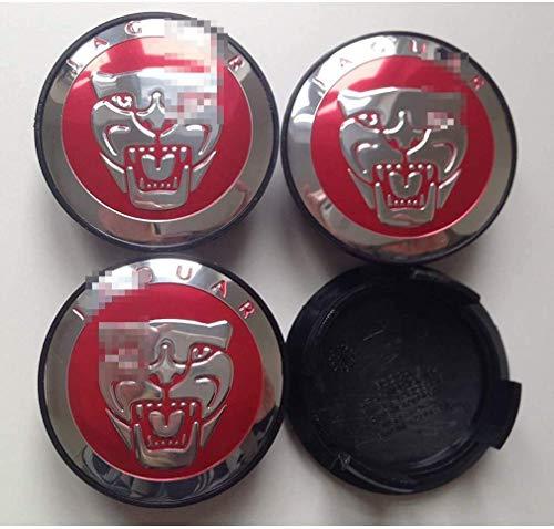 BGQ Cubiertas de Tapas de Centro de Cubo de Rueda de automóvil 60MM para Jaguar XJ XF XS XK XK8 XE F TYPECubiertas de Emblema de Insignia de Repuesto Cubiertas Decorativas de Rueda de Coche 4 Piezas
