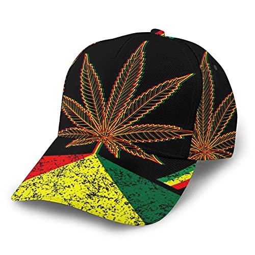 HARLEY BURTON Unisex Gorra de béisbol impresa entera psicodélico de marihuana neón patrón ajustable empalme Hip Hop Cap sombrero de sol