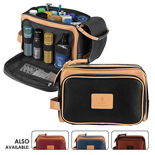 Cruelty-Free Leather Travel Toiletry Bag/Dopp Kit by Pierre LaCroix | Hand-Stitched Using Premium PU Leather and YKK Zippers | Leak Proof | (11'x7'x7')