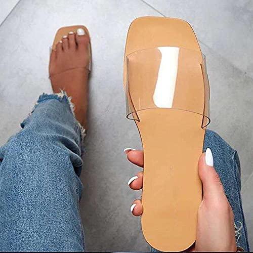 XUNHOU Zapatillas de Verano de tacón Plano y cómodas,Zapatillas Planas de Cuadros Grandes,Sandalias de Verano Transparentes_40 EU,Chanclas de Adulto para Mujer