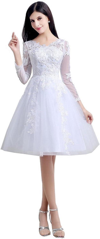 YSFS Women's VNeck Appliques Long Sleeve Lace Short Wedding Dresses Bridal Gowns