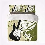 Juego de Funda nórdica Music Durable 3 Bedding Set, Figura de Guitarra Baja eléctrica con Fondo de remolinos Ilustración artística para Interiores