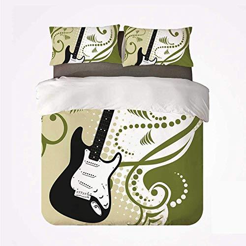 Zozun Juego de Funda nórdica Music Durable 3 Bedding Set, Figura de...