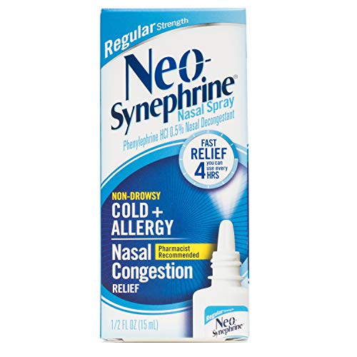 Neo-Synephrine Nasal Spray for Cold & Sinus Relief, Regular Strength, Fast Relief, Pharmacist Recommended, 0.5 Fl Oz