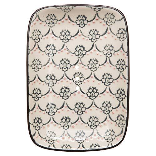 Tranquillo Eckige Seifenschale FINE aus Steingut mit Löchern für den Wasserablauf 13,5 x 9,5 x 2 cm