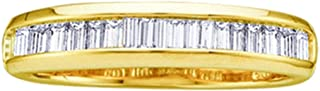 GemApex Diamond Wedding Band Solid 10k Yellow Gold Ring Stackable Baguette Channel Set Polished Finish 1/6 ctw