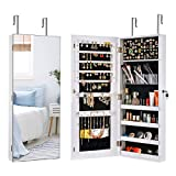 Sunix Mirror Jewelry Cabinet Wall/ Door Lockable Jewelry Armoire Organizer Jewelry Holder Storage Cabinet White