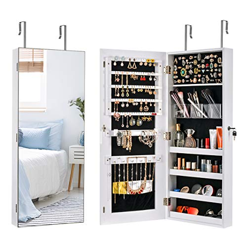 Sunix Mirror Jewelry Cabinet Wall/Door Lockable Jewelry Armoire Organizer Jewelry Holder Storage Cabinet White