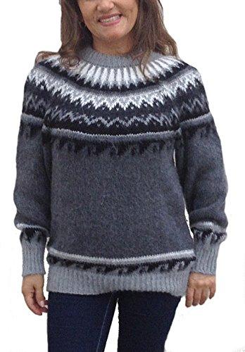 Alpacaandmore Grauer Damen Rundhals Pullover Strickpullover Norweger Stil Alpakawolle (L)