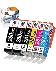 $20 » St@r Ink Compatible Ink Cartridge Replacement for Canon 280 281 PGI-280XXL CLI-281XXL for Pixma TR7520 TR8620 TR8520 TS6120 TS6220 TS6320 TS9120 TS8220 TS8320 TS9520 TS702 Printer(2 PGBK+BK/C/M/Y)