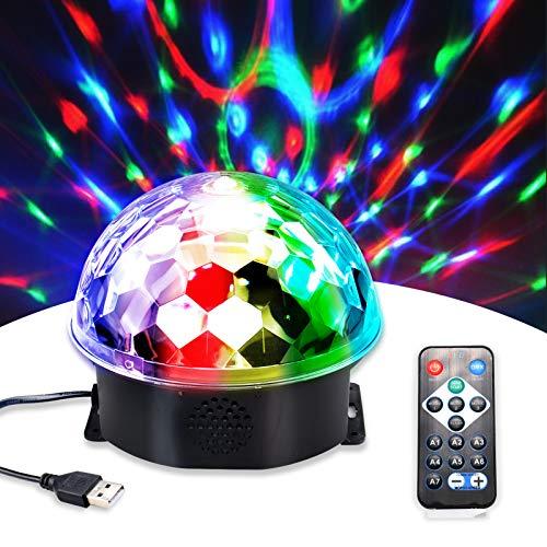 Discolicht, Tsaid Discokugel Disco-Lichter RGB Partylicht LED Party Lampe 9 Farbe Discolampe Musikgesteuert mit Fernbedienung & Discolampe Deko für Weihnachten Kinder Geschenk - Mit Universal Adapter