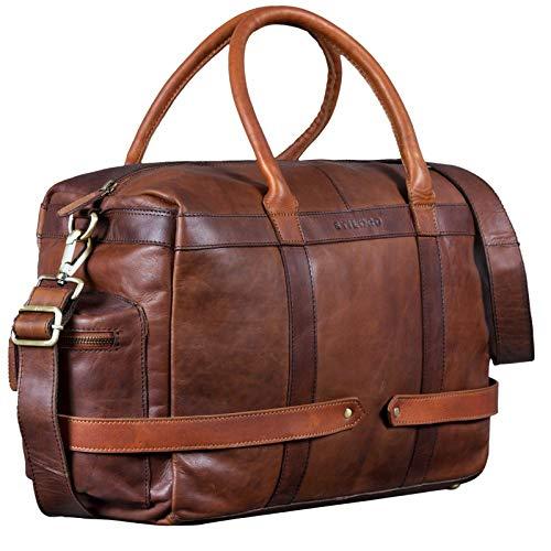 STILORD 'Travis' Weekender Leder Vintage kleine Reisetasche zum Umhängen Handgepäck Reisegepäck Schultertasche in Kabinengröße echtes Büffelleder, Farbe:Cognac - Dunkelbraun