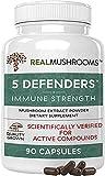 Real Mushrooms 5 Defenders Mushroom Supplements for Immune Support (90ct) Promote Better Overall Wellbeing w/ Chaga, Shiitake, Maitake, Turkey Tail, & Reishi Mushroom | Vegan, Non-GMO