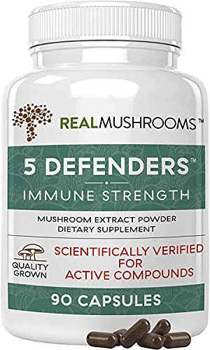 Real Mushrooms 5 Defenders Mushroom Supplements for Immune Support...