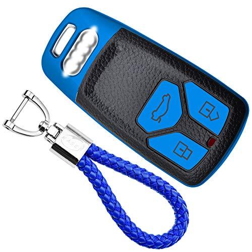 KASER Funda Carcasa Llave Coche Silicona TPU Compatible para Audi A1 A2 A3 A4 A5 A7 Q1 Q3 Q5 TT Keyless Cover Llaveros Efecto Piel Protección Mando de Coche (Azul)
