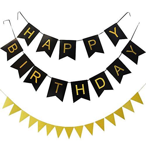 KUNGYO Happy Birthday Bunting Banner,Bannière Anniversaire(Bannière Noir Lettre d'or), Décorations d'anniversaire avec Drapeau Triangulaire